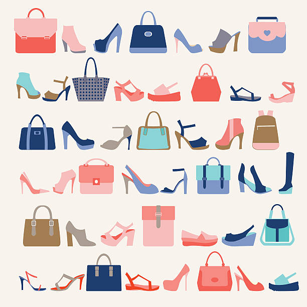 ファッション女性のコレクションバッグと高いヒールの靴 - 靴のファッション点のイラスト素材/クリップアート素材/マンガ素材/アイコン素材