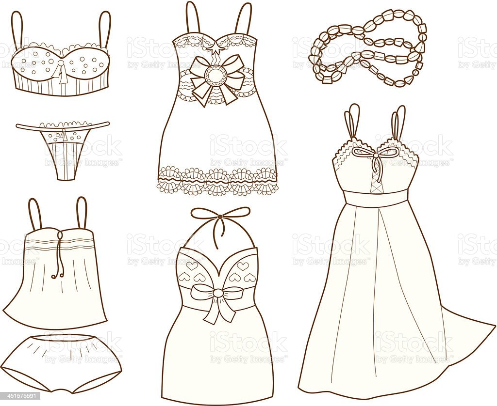 Dibujos De Ropa Para Colorear E Imprimir: Ilustración De Colección De Moda De Mujer Ropa Interior