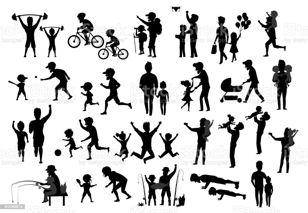 collection of father and kids children silhouette. man boy girl dance jump exercise ride bike walk run push ups jogging hike and camp, fishing, play baseball american football soccer, kiss and hug, take selfie vector art illustration