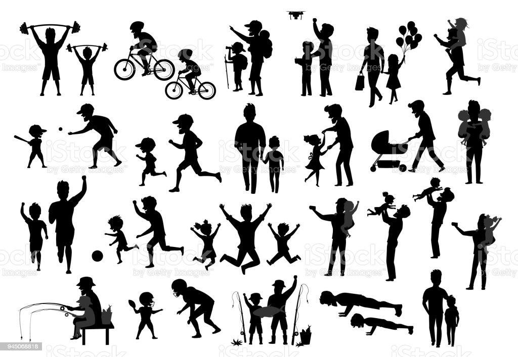 collection de silhouette d'enfants de père et les enfants. homme garçon fille danse jump exercice ride bike marcher courir push ups jogging randonnée et camping, pêche, jouer au baseball football américain football, embrasser et étreindre, prendre selfie - Illustration vectorielle
