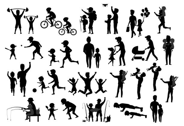 collection of father and kids children silhouette. man boy girl dance jump exercise ride bike walk run push ups jogging hike and camp, fishing, play baseball american football soccer, kiss and hug, take selfie - father stock illustrations, clip art, cartoons, & icons