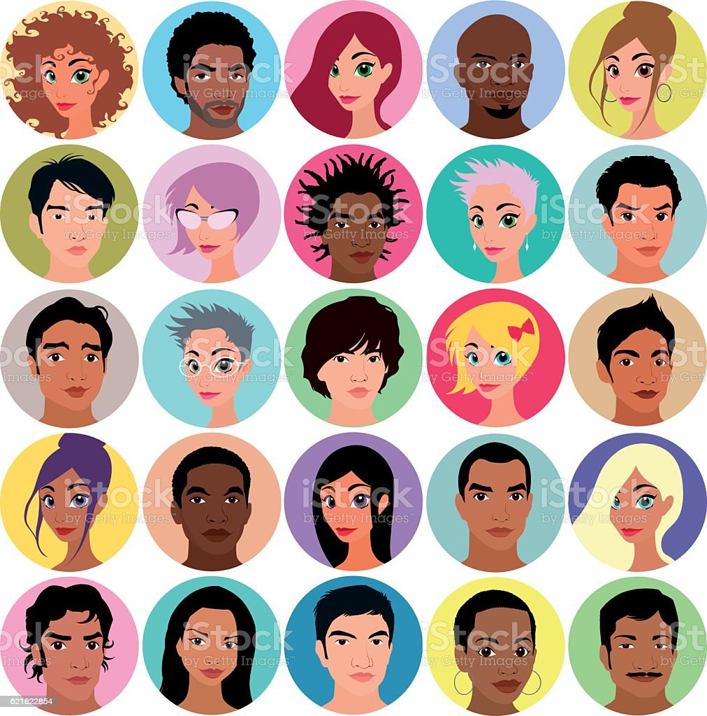 Collection of female and male avatars vector art illustration