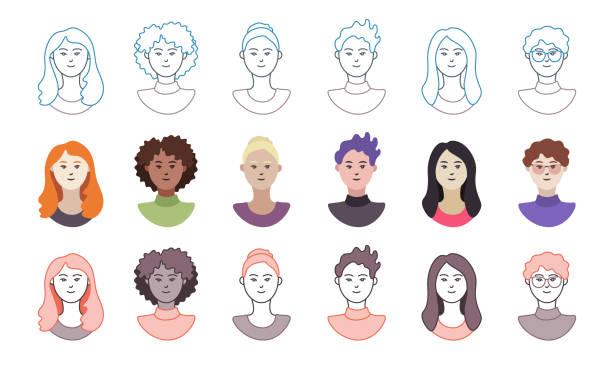 ilustraciones, imágenes clip art, dibujos animados e iconos de stock de una colección de avatares femeninos con diversa etnia - cabello negro