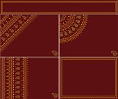 Collection of festive vector backgrounds or cards with traditional Indian style motifs on auspicious red background and gold and yellow colors. File is created using Adobe Illustrator CS6 in RGB color. Download comes with EPS 10 file and high resolution JPG file. Each background is placed in its own layer for easy editing.