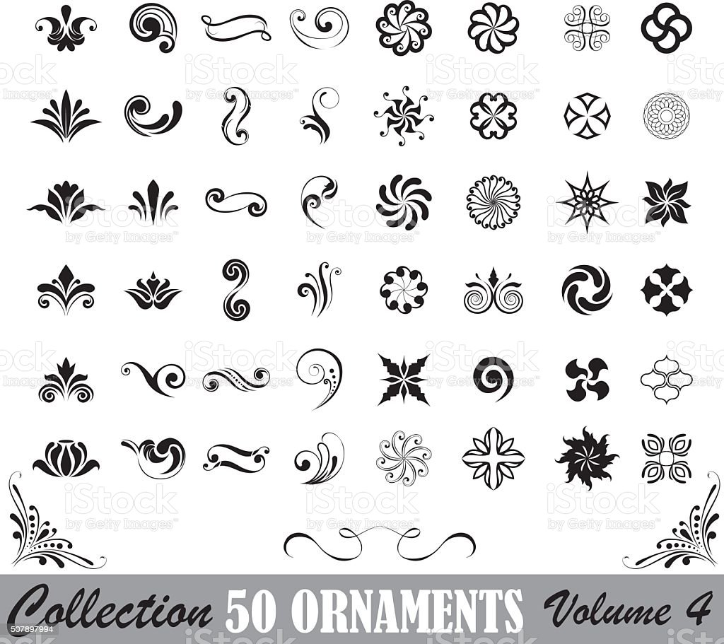 Collection of fifty ornaments vector art illustration