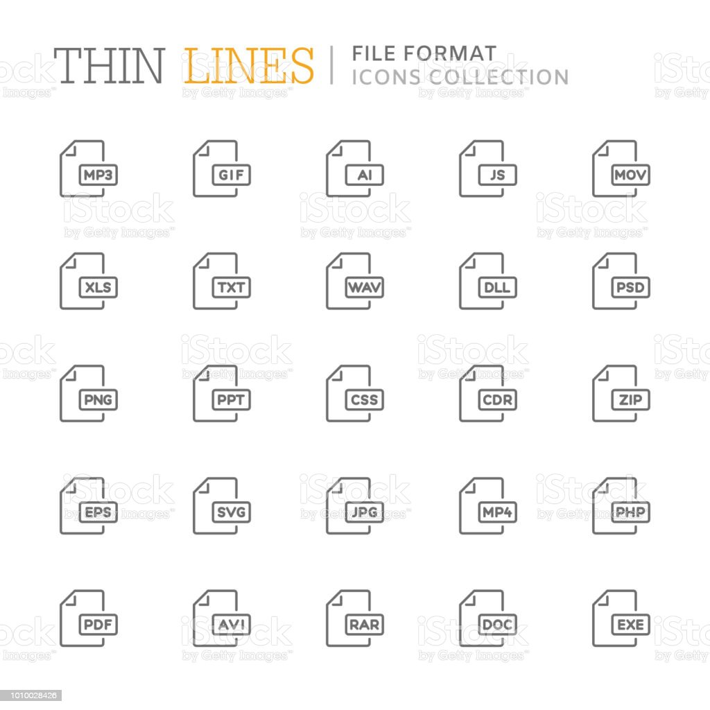Collection of file format related line icons