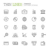 Collection of finance related line icons. Editable stroke