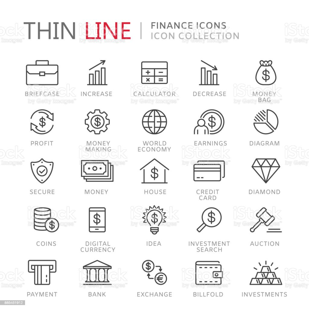 Collection of finance thin line icons vector art illustration