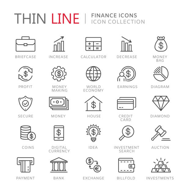 Collection of finance thin line icons Collection of finance thin line icons. Vector eps8 gavel stock illustrations