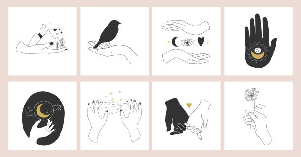 Collection of fine, hand drawn style logos and icons of hands. Fashion, skin care and wedding concept illustrations. Collection of fine, hand drawn style logos and icons of hands. Fashion, skin care and wedding concept illustrations. bird designs stock illustrations