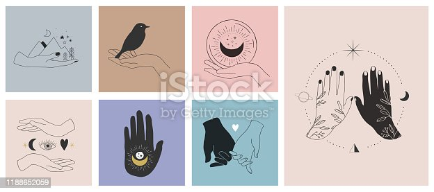 Collection of fine, hand drawn style logos and icons of hands. Fashion, skin care and wedding concept illustrations.