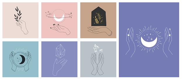 Verzameling Van Fijne Hand Getekende Stijl Logos En Iconen Van De Handen Mode Huidverzorging En Bruiloft Conceptillustraties Stockvectorkunst en meer beelden van Aanraken