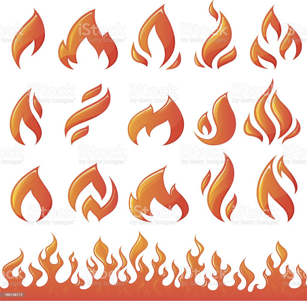 Collection of fire elements vector art illustration