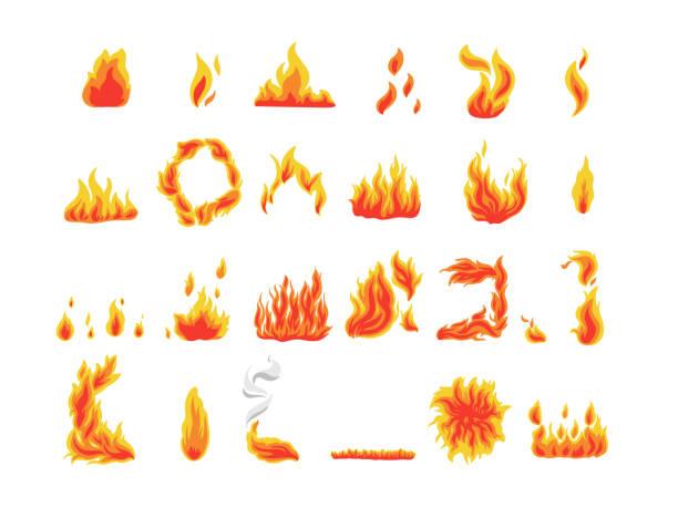 Sammlung von Feuersymbolen, Flammensymbolen, Vektor – Vektorgrafik