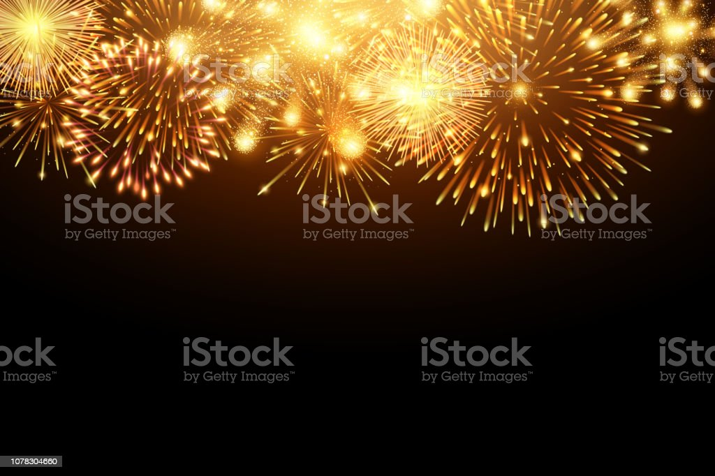 Collection of firework and light glow special effect isolated on black, Happy new year 2019 and celebration concept - Royalty-free 2019 arte vetorial
