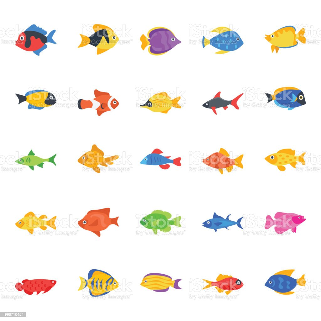 Collection of Fishes Flat Vector Icons vector art illustration