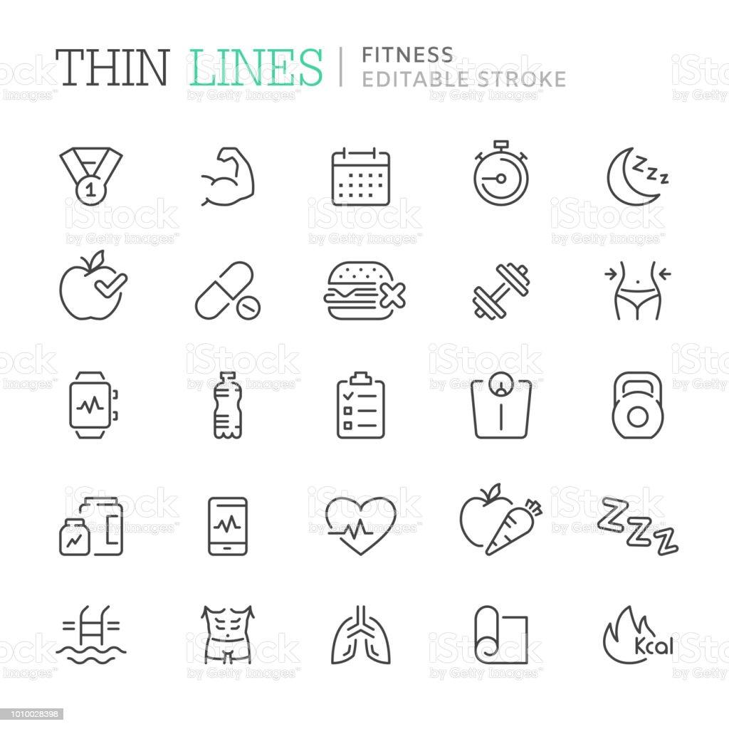 Coleção de aptidão relacionados com ícones de linha. Curso editável - ilustração de arte em vetor