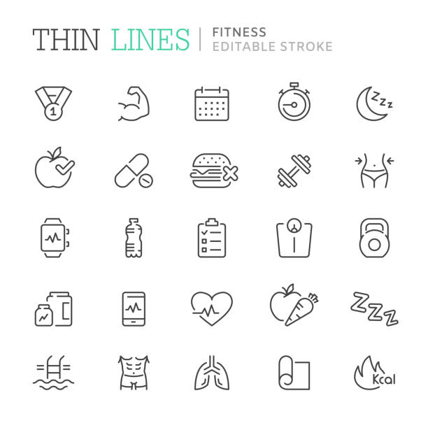Collection of fitness related line icons. Editable stroke Collection of fitness related line icons. Editable stroke weight stock illustrations