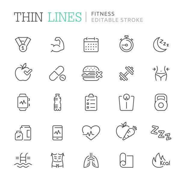 ilustrações, clipart, desenhos animados e ícones de coleção de aptidão relacionados com ícones de linha. curso editável - healthy food