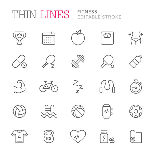 collection of fitness related line icons. editable stroke - talia tułów stock illustrations