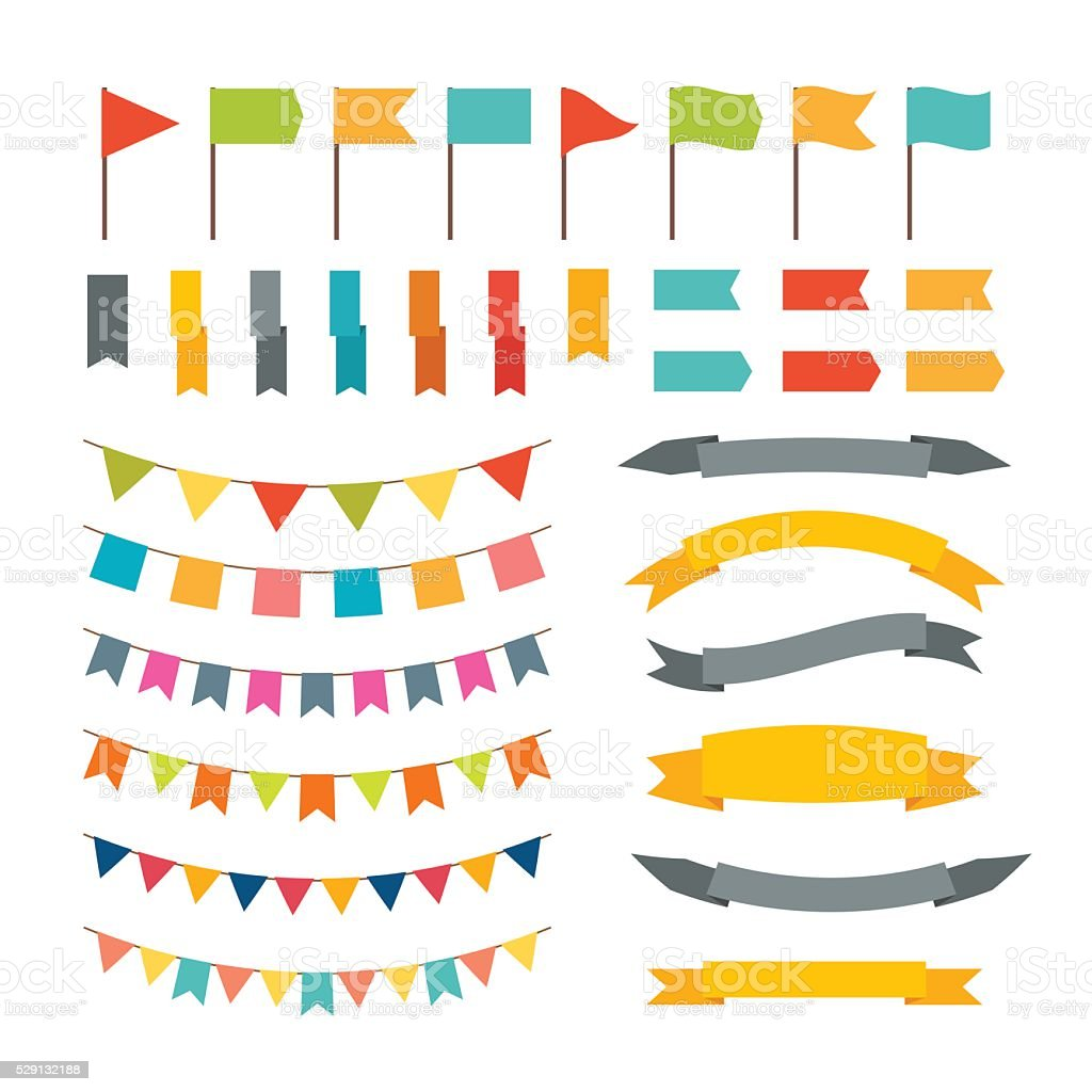 Collection of flags garland. Vector design elements vector art illustration