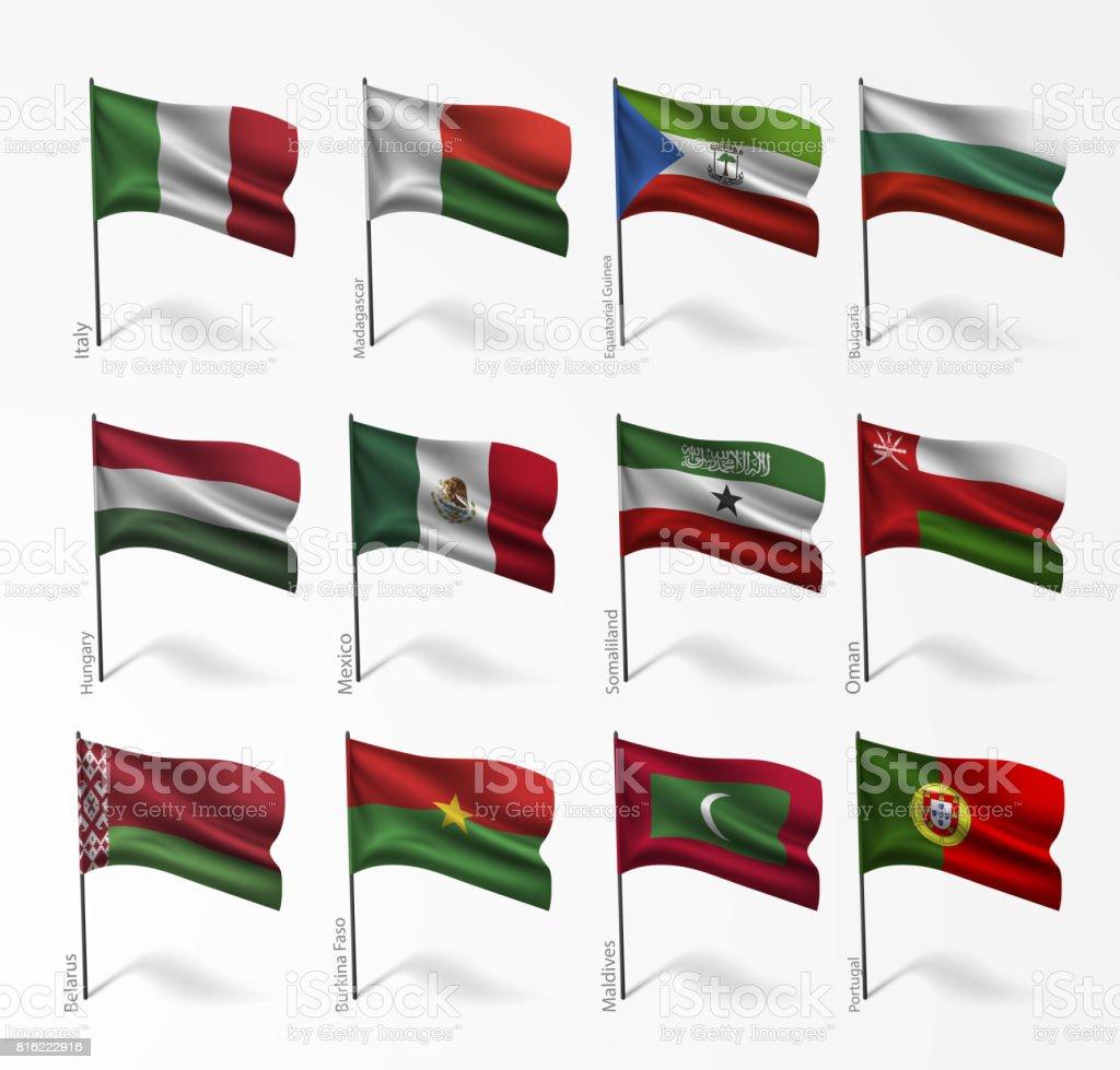 旗世界の国旗のコレクション ベクターアートイラスト