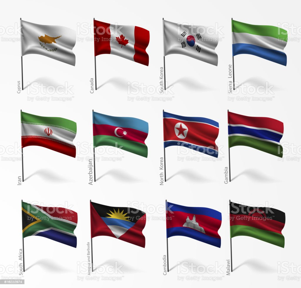 Collection of flags of world on flagpole vector art illustration