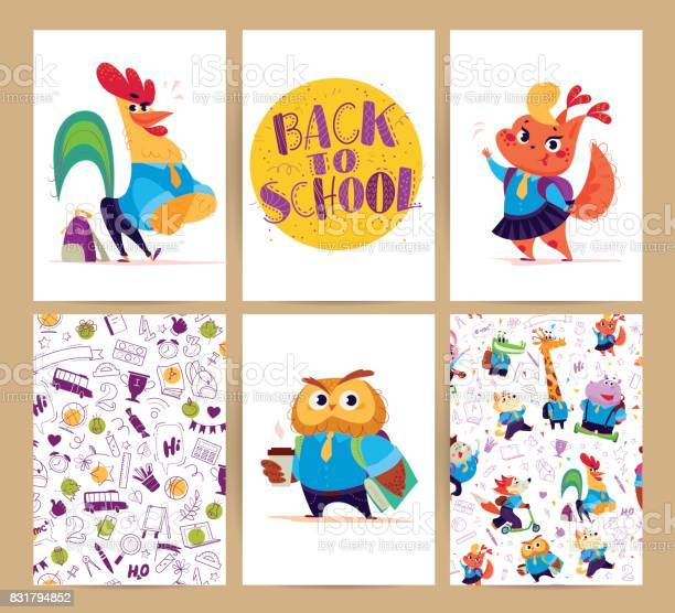 Collection of flat back to school card designs with lettering animals vector id831794852?b=1&k=6&m=831794852&s=612x612&h=iqftcrprljseuo9g0p6dr5x3ol5nxok5x2wdts  uik=