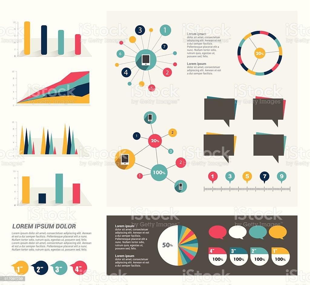 Collection d'éléments textuels. Infographie à écran plat. Ensemble de modèle de couleur. - Illustration vectorielle