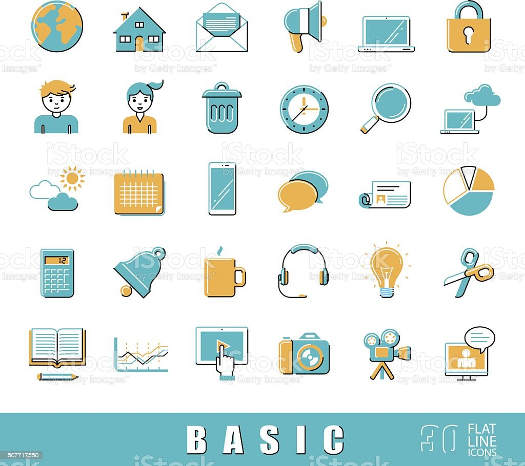 Collection of flat line universal icons. Vector illustration vector art illustration