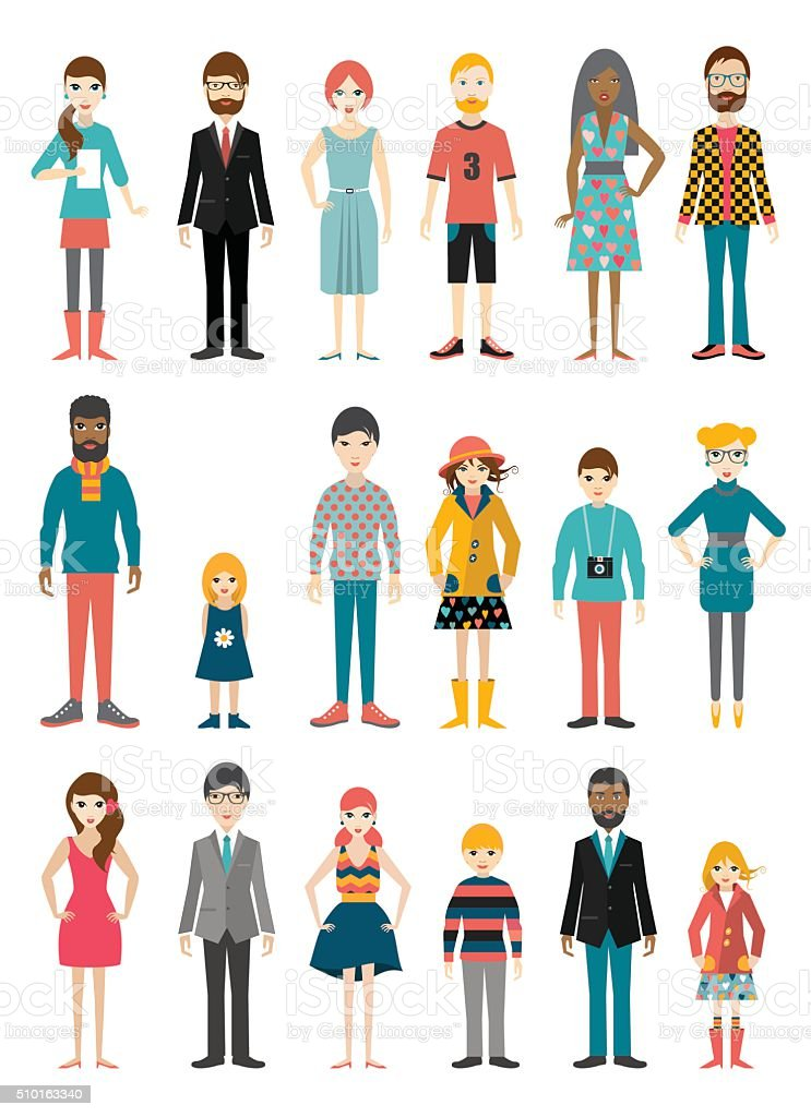 Collection of flat people figures. Various age period. Vector. vector art illustration