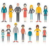 Collection of flat people figures. Vector.