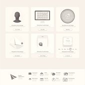 Collection of flat UI elements for website template with icons