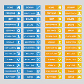 Collection of flat web buttons. Vector illustration