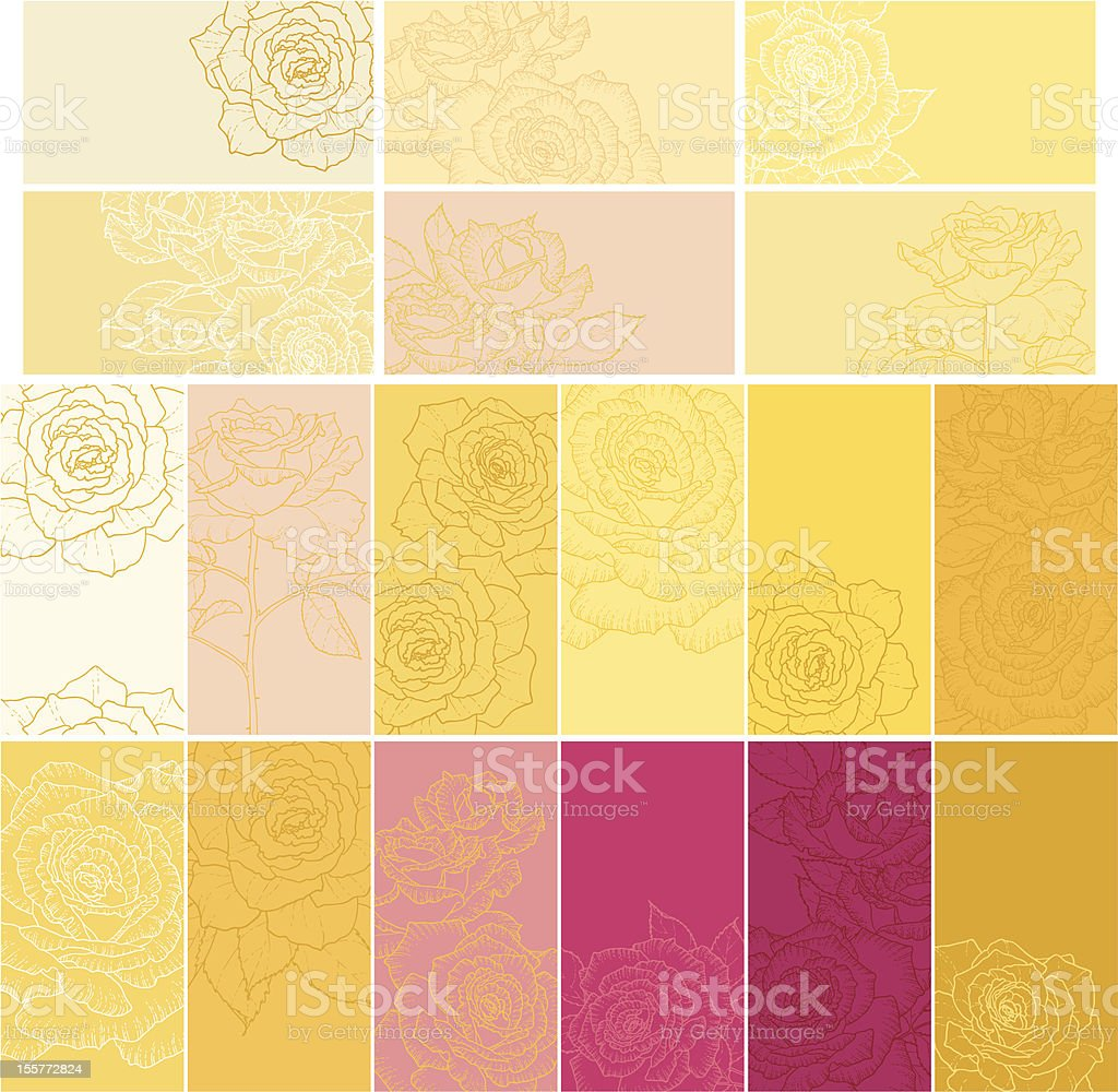 Collection of floral backgrounds with roses royalty-free stock vector art