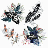 Collection of floral compositions with butterflies, flowers and feathers