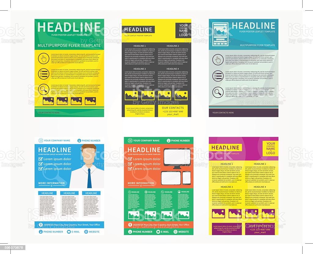 Collection Of Flyer Leaflets Poster Vector Templates Vecteurs