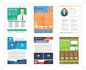 Collection (set) of flyer, leaflets, poster vector templates