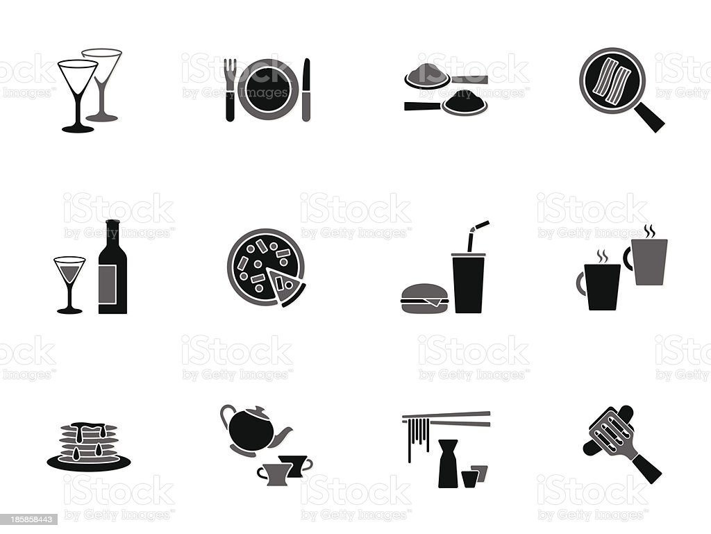 Collection of food and beverage icons royalty-free stock vector art