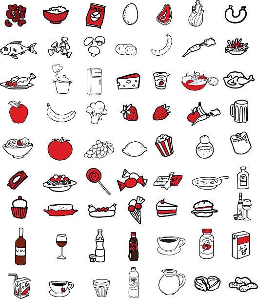 Sammlung von Essen icons – Vektorgrafik