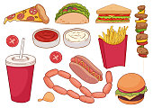 istock A collection of food items such as pizza, thick sausages, hamburger, kebab, sandwich and more. For restaurants, menus, children's books, can be used as stickers 1309214262
