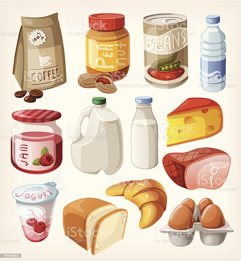 Collection of food  that we buy or eat every day. vector art illustration