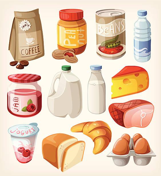 bildbanksillustrationer, clip art samt tecknat material och ikoner med collection of food  that we buy or eat every day. - cheese sandwich