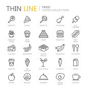 Collection of food thin line icons
