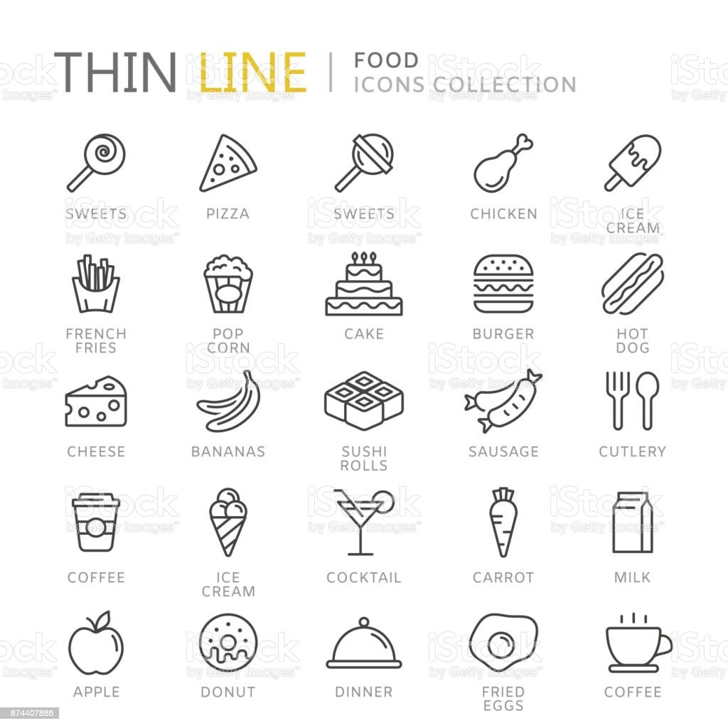 Collection of food thin line icons vector art illustration