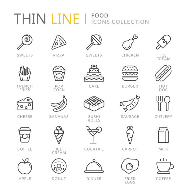 Collection of food thin line icons Collection of food thin line icons. Vector eps10 candy icons stock illustrations