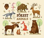 Collection of forest and wild animals with decor vector illustration. Rabbit with carrot and squirrel with nut flat style. Trees and greenery. Wildlife and nature creatures concept