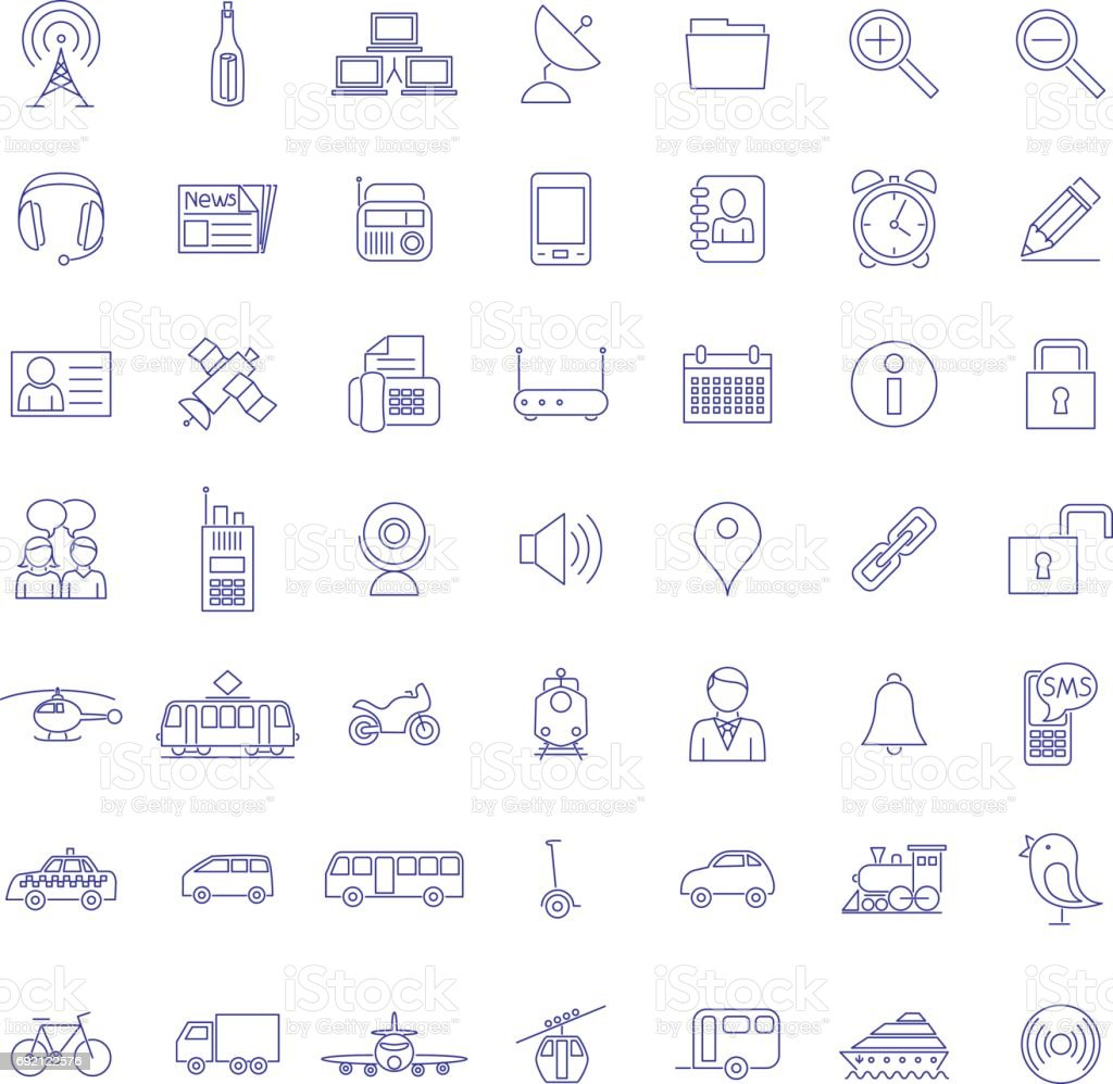 Collection of forty-nine BlueTransport and communication icons