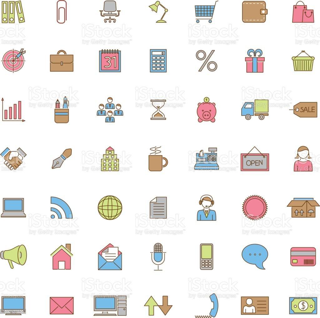 Uma coleção de ícones de negócios, escritório e comércio quarenta e nove cores - ilustração de arte em vetor