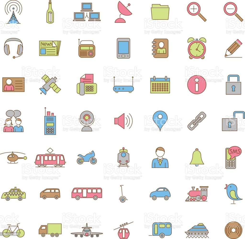 Collection of forty-nine color Transport and communication icons